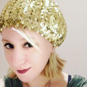 Vintage Sequin beret hat